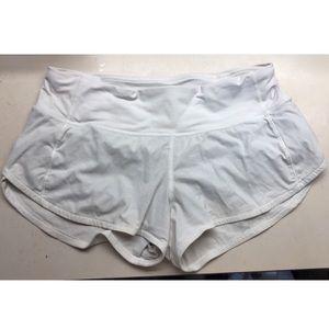 White Lululemon Speed Up Shorts 2.5 inseam